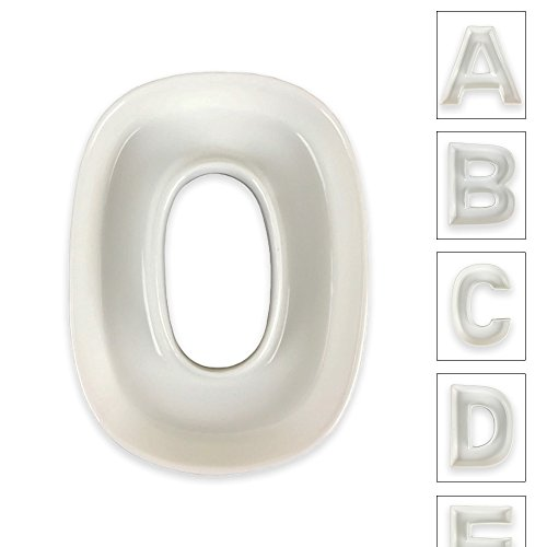 Just Artifacts - 5.5inch White Ceramic Letter Dish - Letter: O - Decorative Dishes for Weddings, Anniversarys, Baby Showers, Birthday Parties and Life (Candy Net)