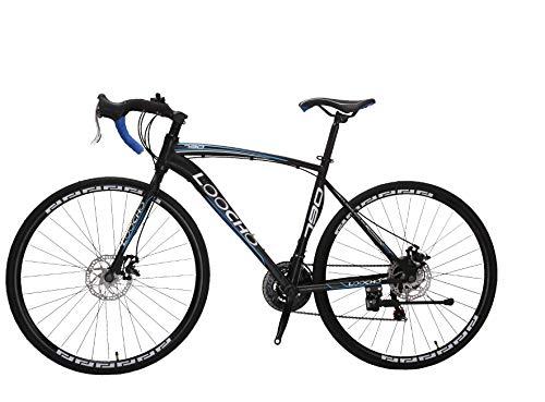 LOOCHO Road Bike 21 Speed Dual Disk Brake 700C Wheels 20 Inch Frame Fitness Bicycle Urban City Commuter Bike