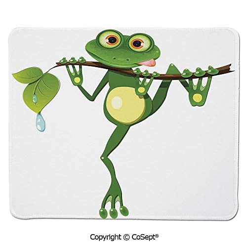 Mouse Pad,Little Frog on Branch of The Tree in Rainforest Nature Jungle Life Artsy Earth,for Laptop,Computer & PC (11.81