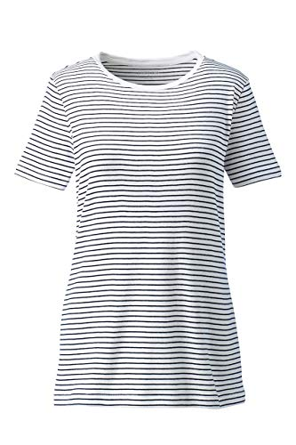 Lands' End Women's Plus Size Petite Stripe Shaped Short Sleeve T-Shirt Cotton Crewneck, 1X, White/Radiant Navy Stripe