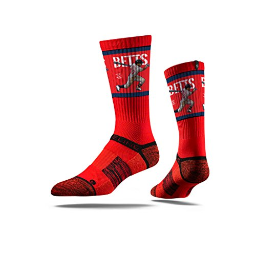 Strideline MLB PA Boston Red Sox Mookie Betts Premium Crew Socks, Red, One Size