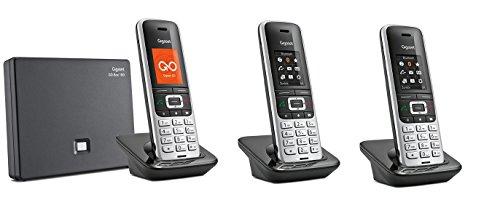Gigaset S850A GO TRIO Set mit Anrufbeantworter + 2 weiteren Mobilteilen, analog / VoIP Festnetz DECT Telefon