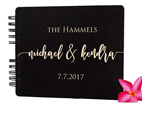 50th Anniversary Guest Book Personalized (Wooden Wedding Guest Book Custom Made in USA (11