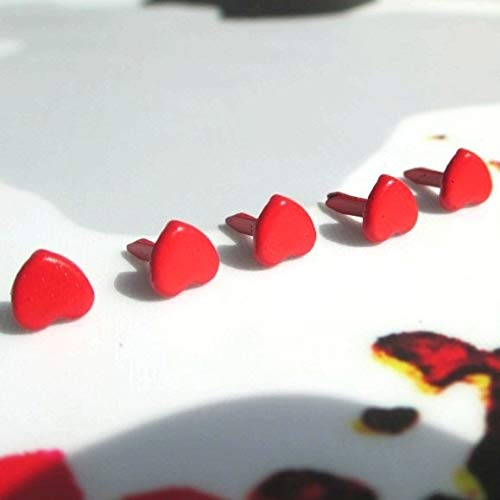BeesClover 600pcs 6mm Red Heart Brads Scrapbooking Valentines Day Wedding Supplies Favors Invtations Gifts Papers Ablum Cards Decorations Show One Size