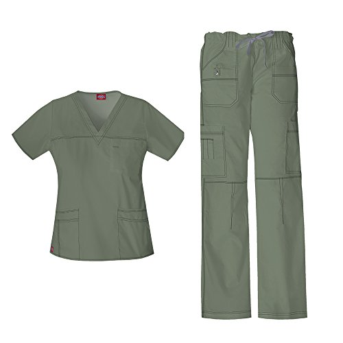 Dickies Women's Gen Flex Junior Fit 'Youtility' Top 817455 & Low Rise Drawstring Cargo Pant 857455 Scrub Set (Olive - Large / X-Large)