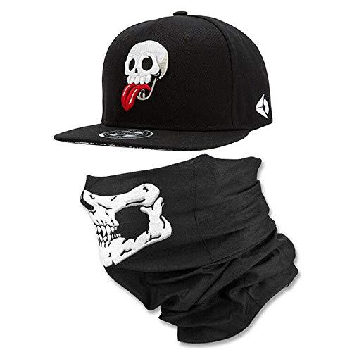 WUKE Hi9 Skull Skeleton Baseball Cap for Men and Boys 3D Embroidery Skull Adjustable Snapback Hats Unisex (Black, One Size) ()