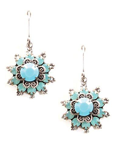 (Clara Beau Bright Turq PacificOpal Swarovski Crystal Sunburst Flower Silver-Tone dangle earrings EP224)