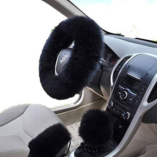 W-ShiG Winter Warm Faux Wool Handbrake Cover Gear Shift Cover Steering Wheel Cover 14.96