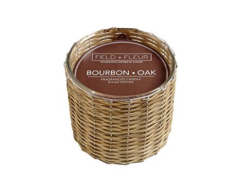 Field Fleur Bourbon Oak 2 Wick Glass and Wicker Handwoven Candle 12 (12 Oz Glass Candle)