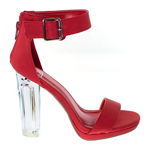 Lucite Heel Shoes (Cargo Red Women Clear Translucent, Perspex Chunky Block Heel Dress Sandal, Lucite)