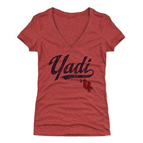 - 500 LEVEL Yadier Molina Women's V-Neck Shirt XX-Large Tri Red - St. Louis Baseball Women's Apparel - Yadier Molina Players Weekend B