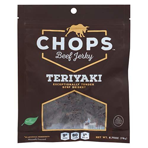 CHOPS BEEF JERKY, Beef Jerky, Teriyaki, Pack of 8, Size 2.75 OZ, (Gluten Free)
