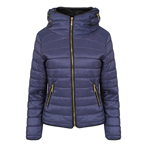 Padded Collar Coat Bubble Navy Puffer Womens Jacket High Stylo Hooded Ladies Women Quilted Bfz4xUwq