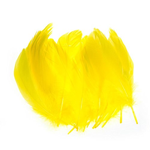 LanShi 100pcs 6-8 Inches 15-20CM Genuine Nature Goose Feather Jewelry Making Crafts Yellow