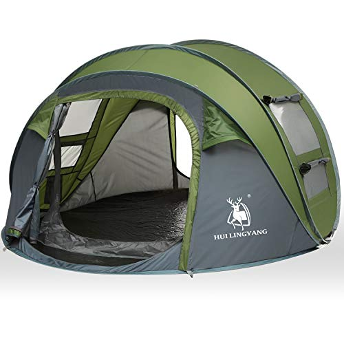 - HUI LINGYANG 4 Person Easy Pop Up Tent-Automatic Setup Sun Shelter for Beach- Instant Family Tents for Camping,Hiking & Traveling