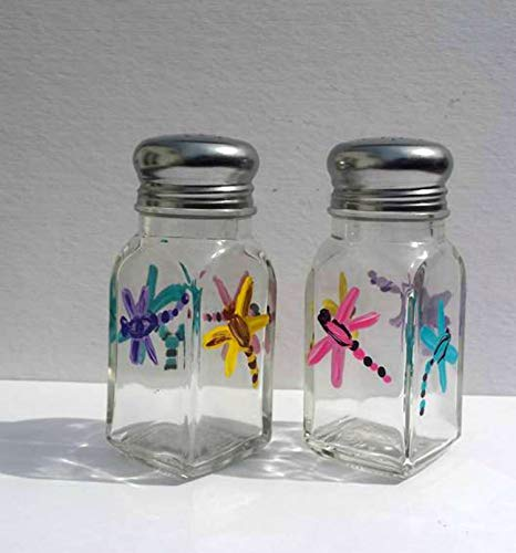 Dragonfly Hand Painted Multi Color Glass Salt and Pepper Shakers Set, Kitchen Decor - Hand Painted Salt Pepper Shakers