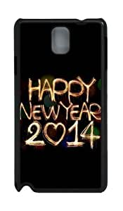 2014 Happy New Year Light Painting Bokeh PC Case and Cover for Samsung Galaxy Note 3 Note III N9000 Black