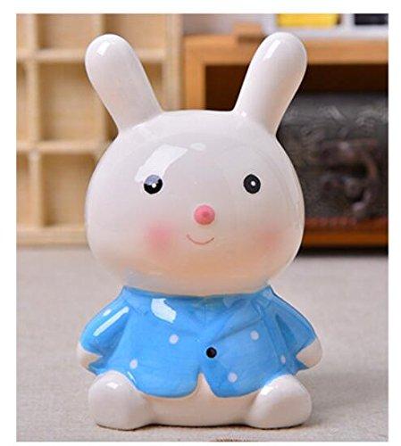 Goodscene Cartoon Piggy Bank Bunny Piggy Bank Handmade Ceramic Ornaments Children Present (Blue) by Goodscene