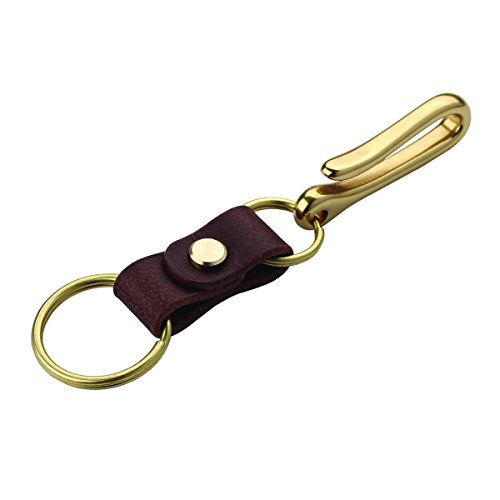 Robrasim Handmade Genuine Leather Keychain – Solid Brass Hardward Belt Clip Key Ring – Coffee