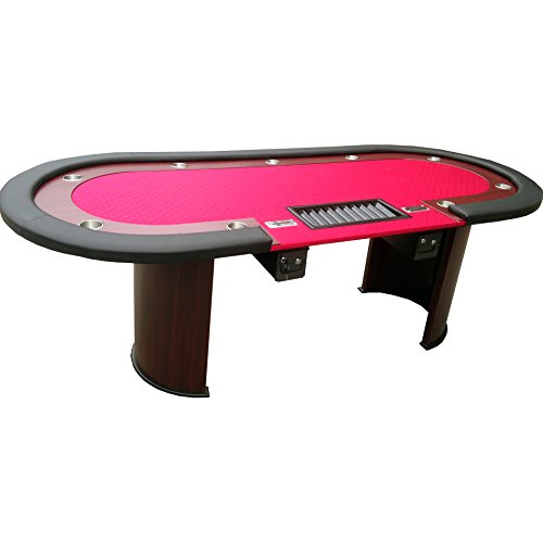 Poker Table For 96 x 43 Inch 10 Players Red Speed Cloth Racetrack Cup Holders Chip Tray Double Drop Box Wooden Legs By IDS Poker by IDS Home