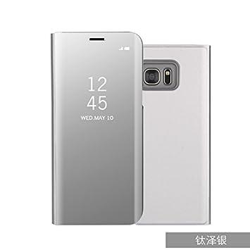 Funda Galaxy S6 Edge plus Carcase,+Protector de Pantalla Clear Standing Flip Case Caso Skin espejo estilo libro carcasa con óptica de aluminio Cover ...