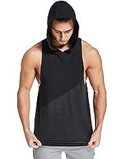 Zentrex Mens Tank Tops Workout Hooded Muscle Cut Off T Shirt Splicing Sleeveless Gym Hoodies
