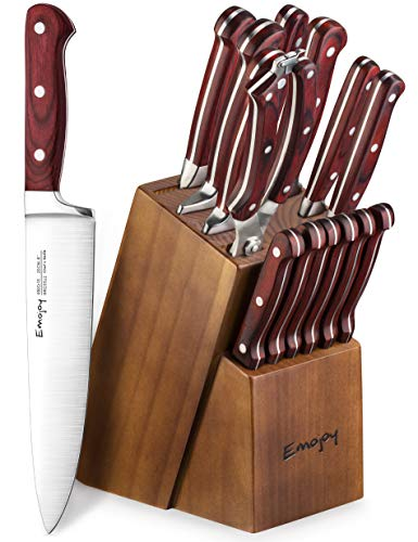 Emojoy Knife Set, 15-Piece Kitchen Knife Set with Block Wooden, Manual Sharpening for Chef Knife Set, German Stainless -