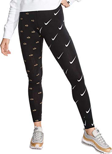 Nike Womens Sportswear Leg-A-See Metallic Leggings (Black, Medium)