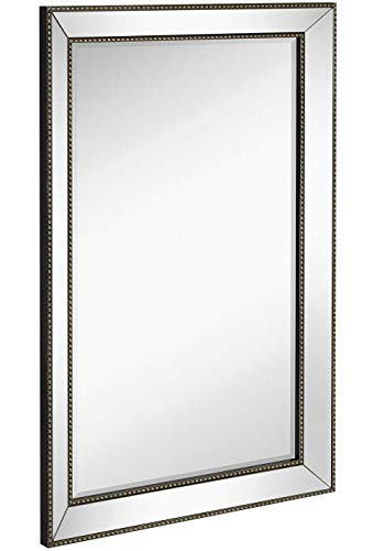 Large Framed Wall Mirror with Angled Beveled Mirror Frame and Beaded Accents -