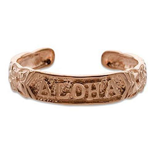 Hawaiian Heirloom Jewelry Aloha Toe Ring with Rose Gold Finish ()