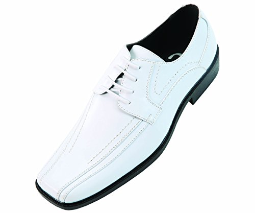 Sio Mens Classic White Smooth Wide Width Oxford Dress Shoe: Style Mason-ww White-007