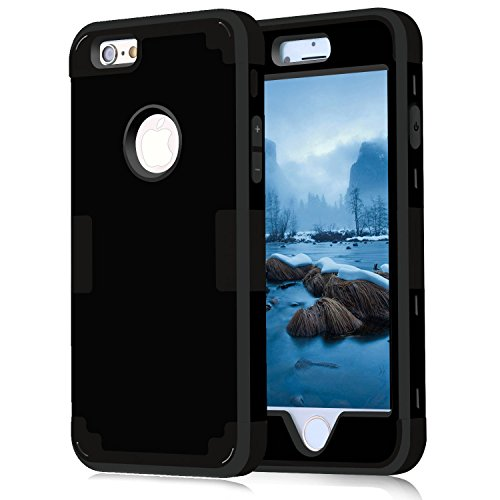 iPhone 6 Case 2 Piece, Armor Tough iPhone 6S Case Protective 360 Heavy Duty Protection and Air Cushion Shockproof Durable Dual Layer Silicon Rubber Hard Case Cover for Apple iPhone 6S 6 4.7 Black