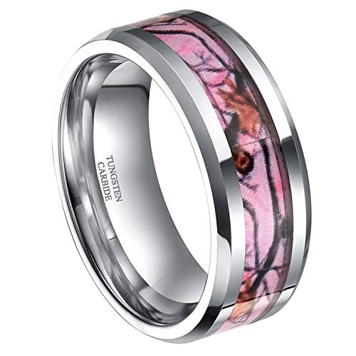 Frank S.Burton 8mm Pink Camo Tungsten Rings for Men Deer Antlers Hunting Camouflage Couple Wedding Band Size 8]()