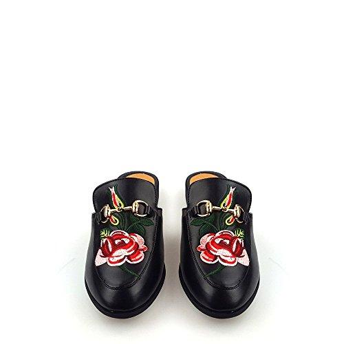 Miss Diva Mylia Ladies Women Low Heel Floral Design Slip On Open Back Closed Toe Mule Shoe Black JWTgX