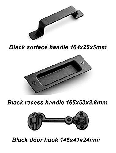Bline Black Sliding Barn Door Kit ( 2 Handles / 1 Latch )