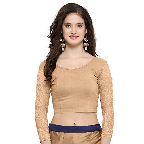 Janasya Indian Tunic Tops Readymade Cotton Lycra Saree Blouse for Women (BL026-74BEIGE) by Janasya