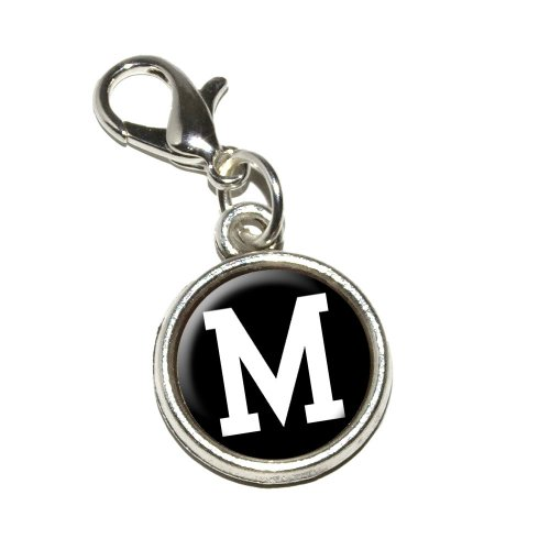 Graphics and More Letter M Initial Black White Antiqued Bracelet Pendant Zipper Pull Charm with Lobster Clasp
