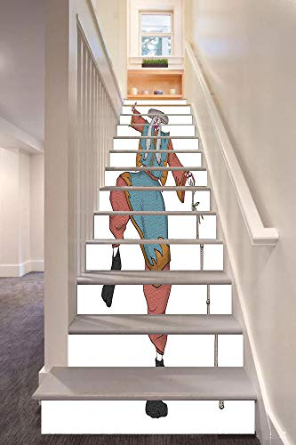 Kabuki Mask Decoration 3D Stair Riser Stickers Removable Wall Murals Stickers,Cultural Asian Character Posing Traditional Hat Makeup and Costume Decorative,for Home Decor 39.3