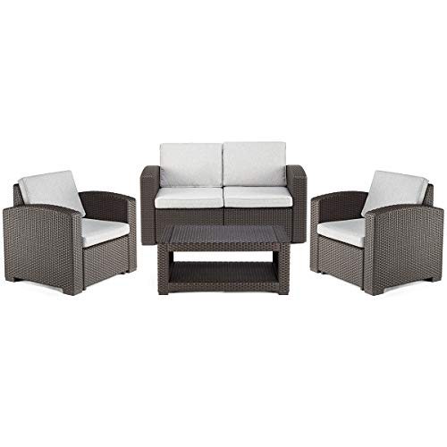 PAMAPIC 4 Piece Outdoor Patio Furniture Sets, All Weather Chair Washable Cushion & Double Layer Coffee Table in Propylene Resin Plastic Wicker Pattern【Grey Seat Back Cushions】 Black