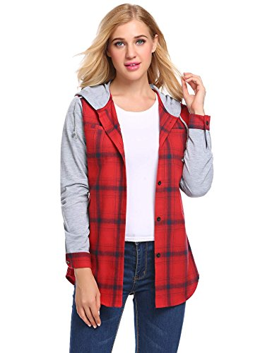 Ladies Plus Size Button Down Shirt Plaid Flannel Hoodies Sweatshirts Roll Up Long Sleeve Top (Red, XXL) (Plus Size Flannel Hoodie)