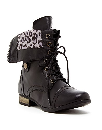 Fold Down Cuff (Charles Albert Women's Cablee Combat Boot with Leopard Foldover Cuff in Black Size: 8)