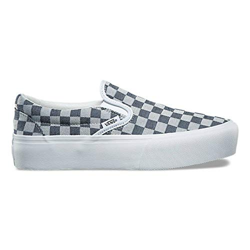 Vans Classic Slip On Platform Mens Size 8.5 / Womens Size 10 Checkerboard Denim Blue White Skateboarding ()