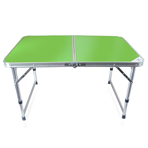 Yongtong Aluminum Folding Camping Table, with Carrying Handle, Portable and Height Adjustable Legs, Multi Purpose for Indoor Outdoor, Party, Picnic, Dining, Beach, Backyards, BBQ (3ft green) - Adjustable Aluminum Handles