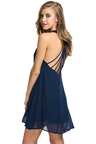 Zeagoo Sexy Womens Chiffon Summer Sleeveless Strappy Backless Navy Blue Dress, Navy Blue, Large (Dress Back Strappy)