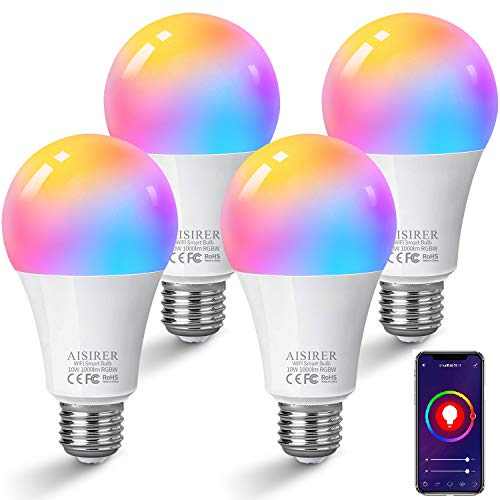 Alexa gloeilampen E27 Smart ledlamp, 10 W, 1000 lm, AISIRER WLAN meerkleurige dimbare lamp, app-besturing, compatibel…