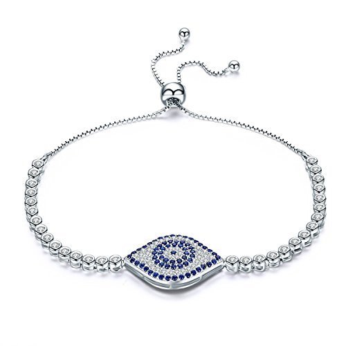 WOSTU Delicate Platinum Plated Sterling Silver Evil Eye CZ Link Tennis Bracelets Adjustable for (925 Silver High Platinum Bracelet)