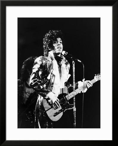 ArtEdge Prince, Rocks the Stage During His Purple Rain Tour in 1984 Framed Photographic Print by Vandell Cobb, (Cobb Stage)