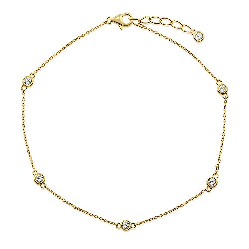 Yellow Gold Flashed Sterling Silver Cubic Zirconia CZ by the Yard Station Anklet 10