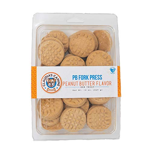 Claudia's Canine Bakery, Fork Press Cookies, Peanut Butter Flavor, Gourmet Dog Treats   No Preservatives, No Animal by-Products, No Fillers   Made in The USA   Net Wt. 13 oz