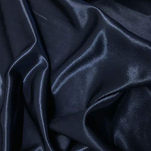 1 Yard Midnight Blue Crepe Back Satin Bridal Fabric Drapery Soft 60